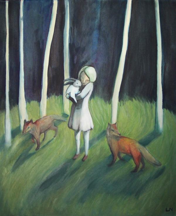 Flicka med rävar